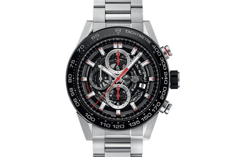 TAG Heuer Carrera Calibre Heuer 01 Automatic Chronograph - Black & Red Skeleton on Stainless Bracelet