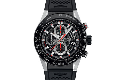 TAG Heuer Carrera Calibre Heuer 01 Automatic Chronograph - Black & Red Skeleton on Black Rubber Strap