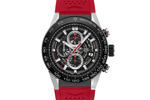 TAG Heuer Carrera Calibre Heuer 01 Automatic Chronograph - Black & Red Skeleton on Red Rubber Strap