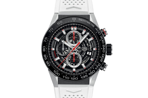 TAG Heuer Carrera Calibre Heuer 01 Automatic Chronograph - Black & Red Skeleton on White Rubber Strap
