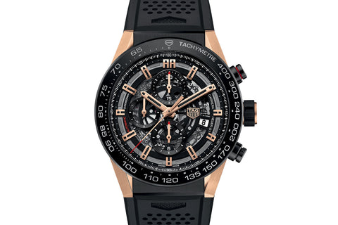 TAG Heuer Carrera Calibre Heuer 01 Automatic Chronograph - Rose Gold & Black on Black Rubber Strap