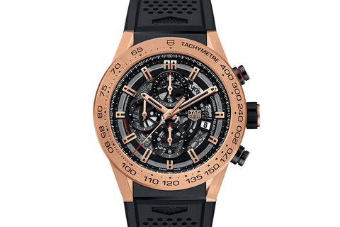 TAG Heuer Carrera Calibre Heuer 01 Automatic Chronograph - Rose Gold on Black Rubber Strap