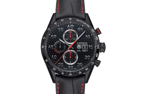 TAG Heuer Carrera Calibre 1887 Automatic Chronograph - Black & Red Titanium on Black & Red Leather Strap