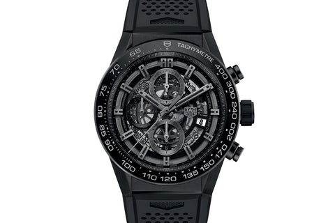 TAG Heuer Carrera Calibre Heuer 01 Automatic Chronograph - Black Ceramic Skeleton on Black Rubber Strap
