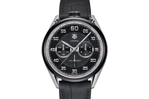 TAG Heuer Carrera Calibre 1887 Automatic Chronograph - Black & Silver Titanium on Black Leather Strap