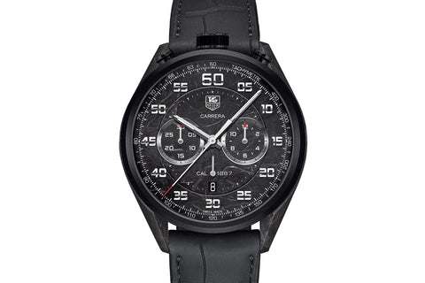 TAG Heuer Carrera Calibre 1887 Automatic Chronograph - Black Carbon Composite on Black Leather Strap