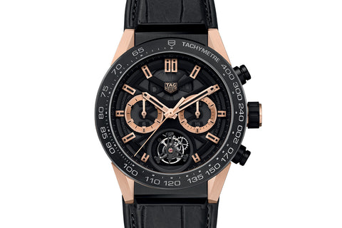 TAG Heuer Carrera Calibre Heuer 02 T Automatic Chronograph - Rose Gold & Black Tourbillon on Black Leather Strap
