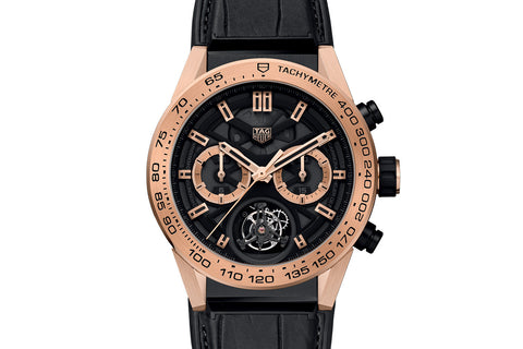 TAG Heuer Carrera Calibre Heuer 02 T Automatic Chronograph - Rose Gold Tourbillon on Black Leather Strap