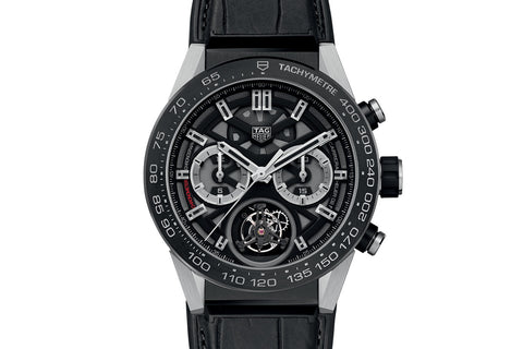 TAG Heuer Carrera Calibre Heuer 02 T Automatic Chronograph - Black & Silver Tourbillon on Black Leather Strap