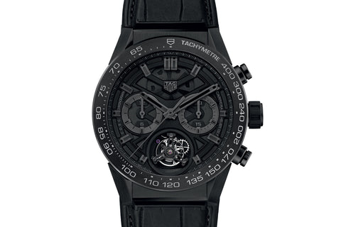 TAG Heuer Carrera Calibre Heuer 02 T Automatic Chronograph - Black Phantom Titanium Tourbillon