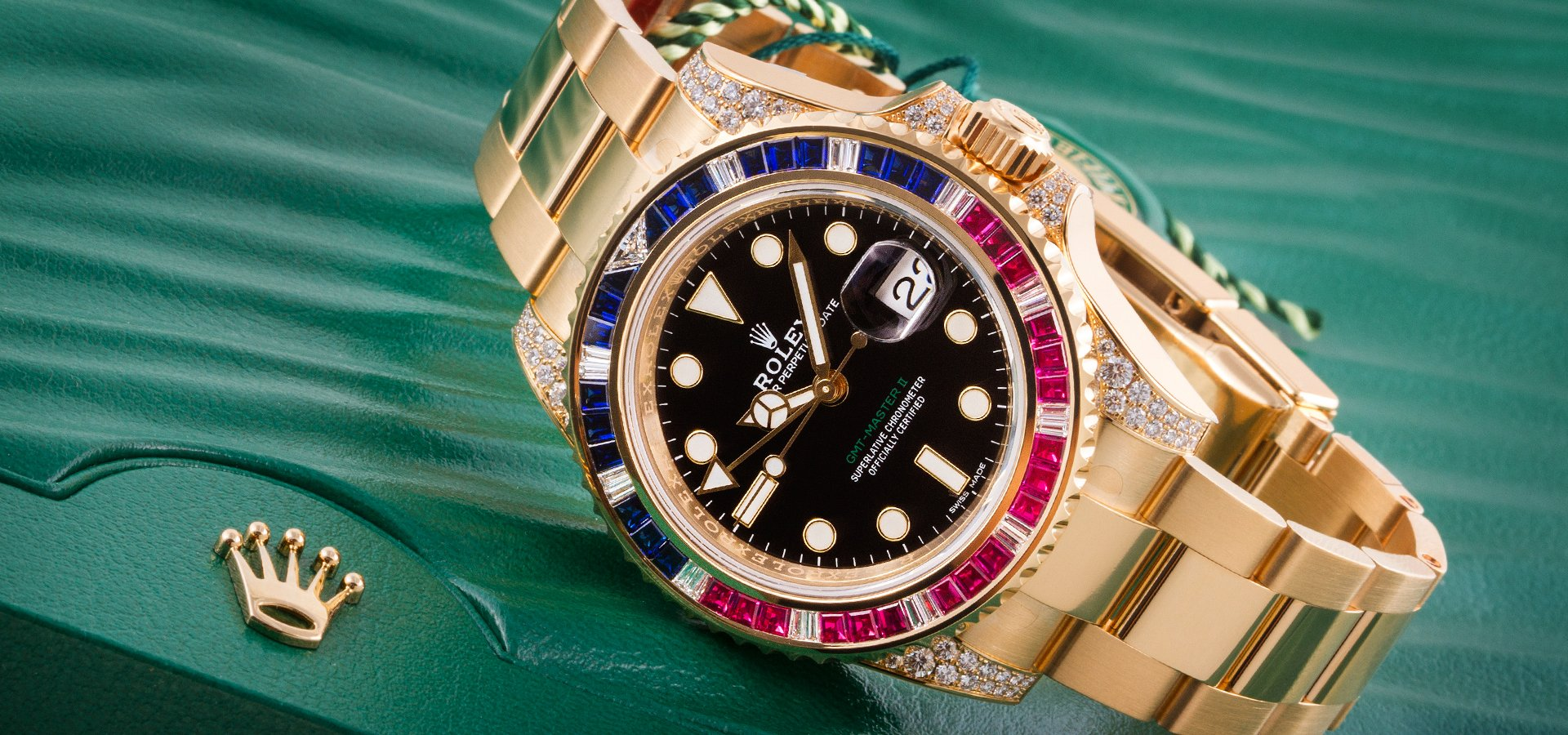 Rolex Oyster Perpetual GMT-Master II 18K Yellow Gold - Sapphire Ruby SARU Diamonds