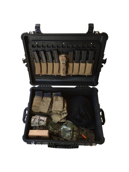 Grey Man Tactical Rigid MOLLE Panel Pelican Case Lid Organizer for flight crews, pilots, camera gear, military