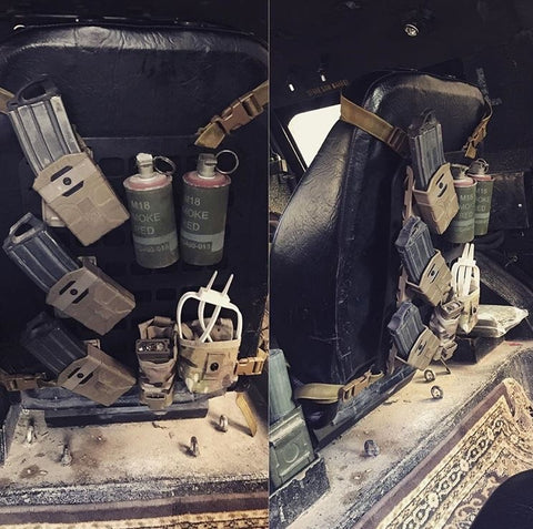 US Military Army using Grey Man Tactical Rigid MOLLE Panels on vehicle seat backs in Iraq in fight against ISIS.