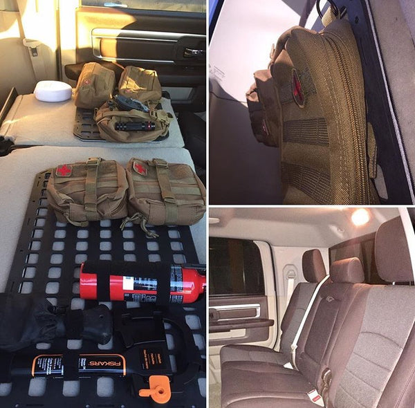 Grey Man Tactical Rigid MOLLE Panel Behind seat back hidden truck storage rifle pistol mount behind truck seat
