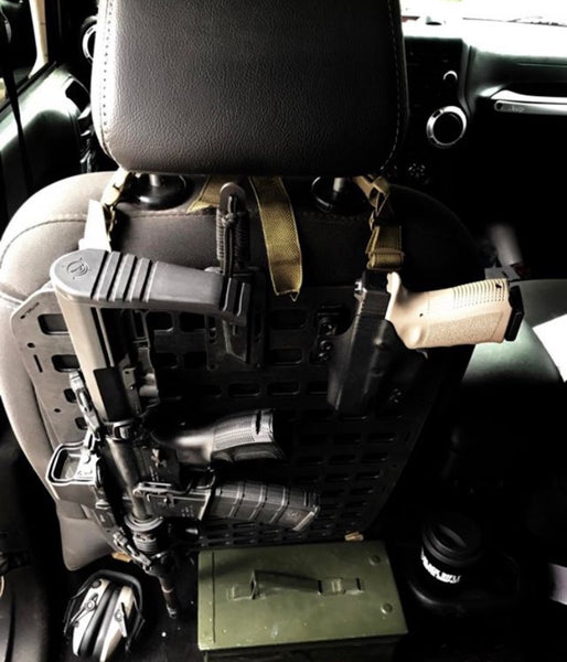 Grey Man Tactical Rigid MOLLE Panel Vehicle Truck Jeep Hummer Weapon Rack Seat Back Weapon Mount AR-15
