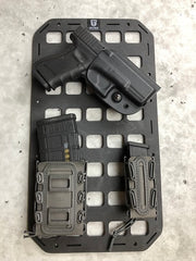 G-Code Softshell Scorpion Mag Pouch and RTI Wheel attachment with backer plates to Grey Man Tactical Rigid MOLLE Panel
