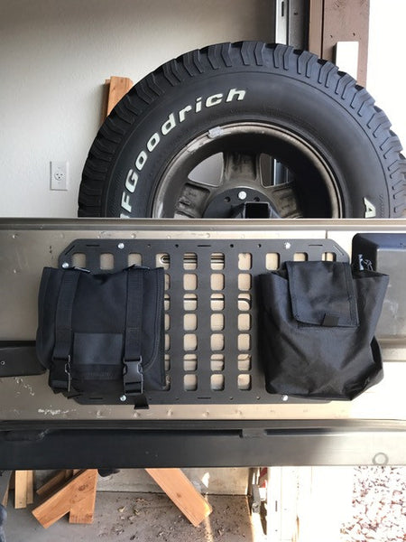 Grey Man Tactical Rigid MOLLE Panel JEEP Wrangler Tail Gate Hard Mount with Spacers 1.25in self drilling .25in diameter screws