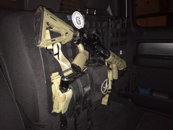Grey Man Tactical Rigid MOLLE Panel Law Enforcement Vehicle Under Seat M-4 AR-15 Mount