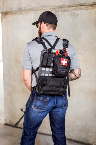 GMT Rigid MOLLE Panel converts to standalone backpack with QD Push Button Straps