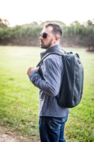 man with his backpack on with backpack organizer insert