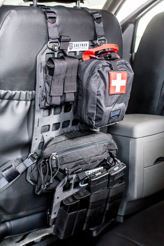 Attach your everyday carry to your back seat, take it along with your backpack