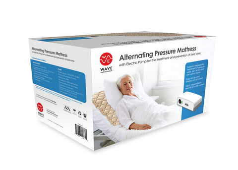 Wave Medical Premium Alternating Pressure Pad - Includes Mattress Pad and Upgraded Electric Pump System - Quiet, Inflatable Bed Air Topper for Pressure Ulcer Sore Treatment - Fits Standard Hospital Beds