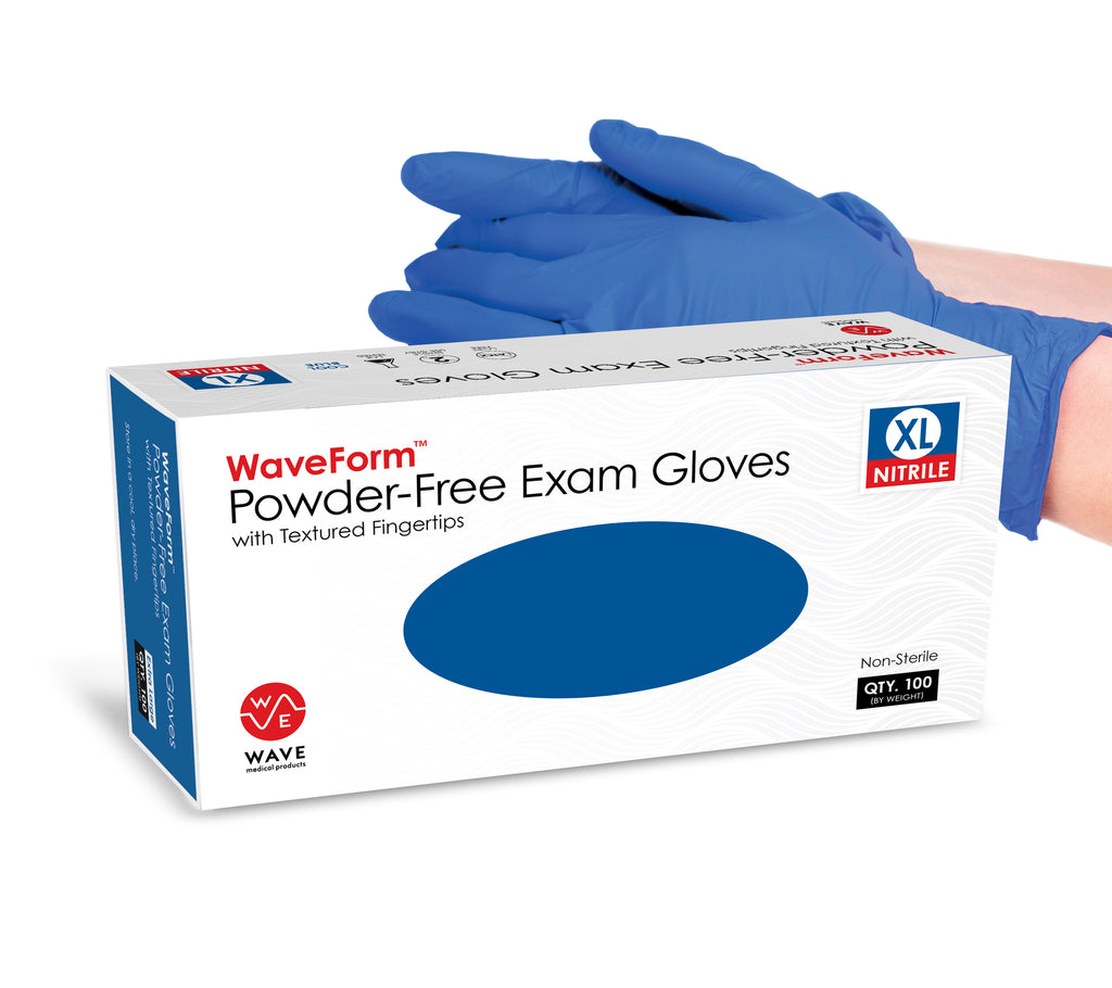WaveForm™ Nitrile Gloves - Powder Free Latex Free Medical Exam Grade - Case of 1000