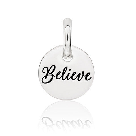 Believe Sterling Silver Disc