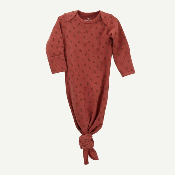 Soft Rust Tree Print Baby Gown