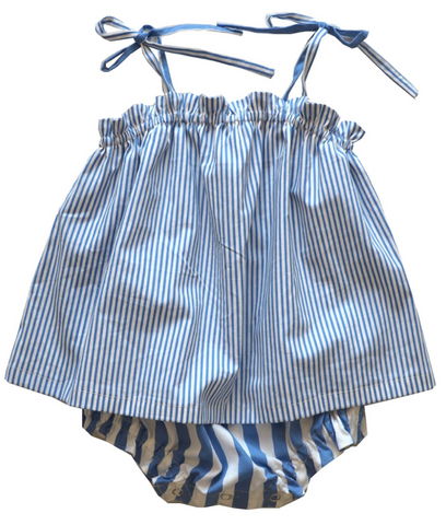 Harbor Stripe Ruffle Baby Sunsuit