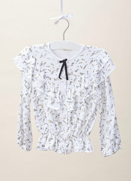 Girl's French Floral Blouse
