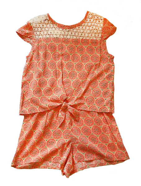 Girl's Romper With Lace Yoke
