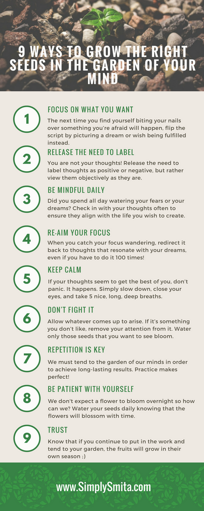 9 Ways to Grow the Right Seeds in the Garden of Your Mind Infographic - Simply Smita