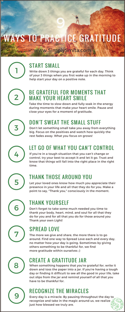 9 Ways to Practice Gratitude Infographic - Simply Smita Blog
