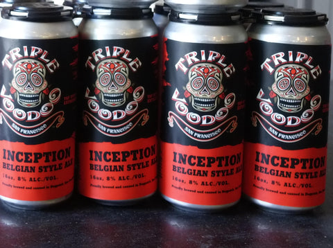 4 pk 16oz cans of Inception Belgian Golden Strong Ale
