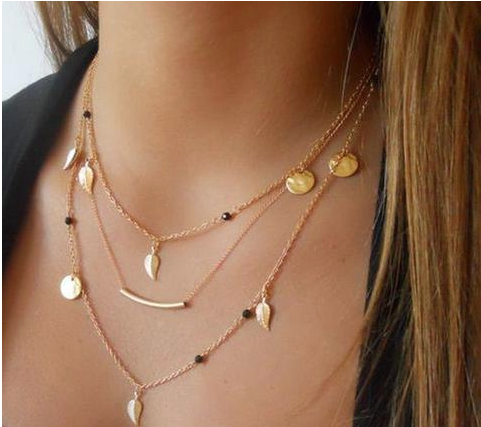 Gold silver chain beads  leaves pendant necklace FREE + Shipping Cost