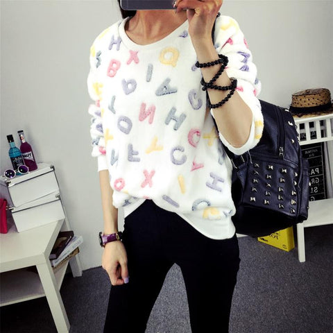 Women Loose Long Sleeve Casual Sweatshirt Pullover