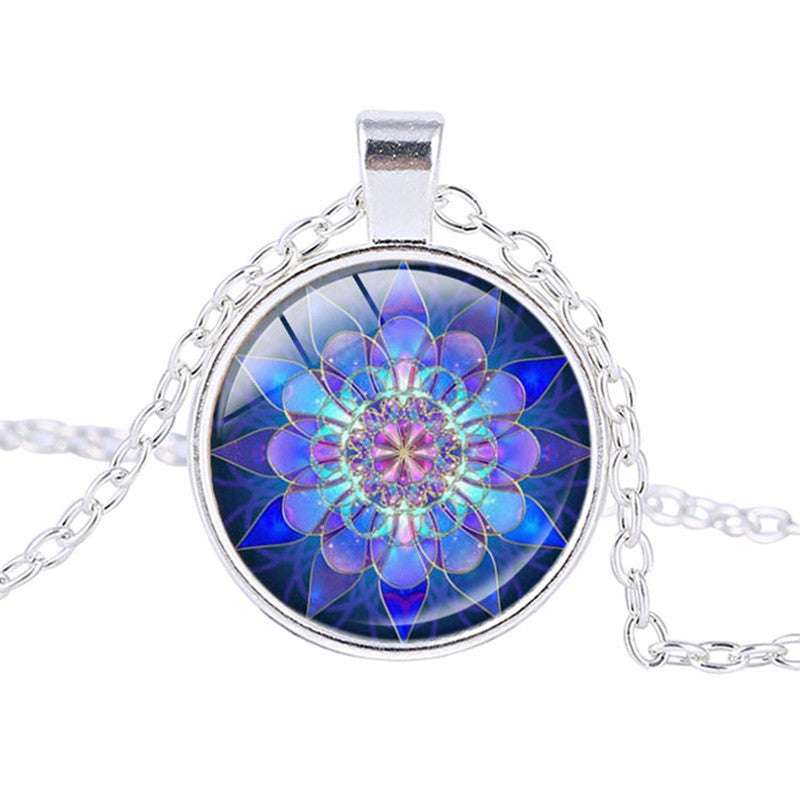 Lucky amulet Blue Mandala Art Necklace - youandbeautifulpeople