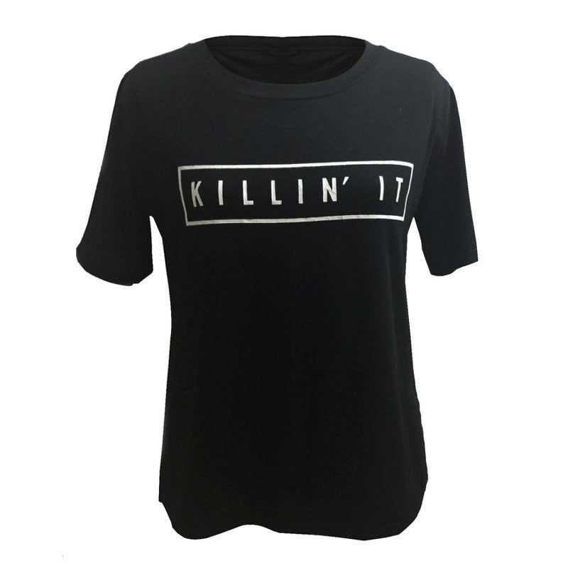 Killin It Letter Print Fashion Women Summer Top Letter Print Casual T shirt 2016 Sexy Slim Funny Top Tee  Short Sleeve Shirts