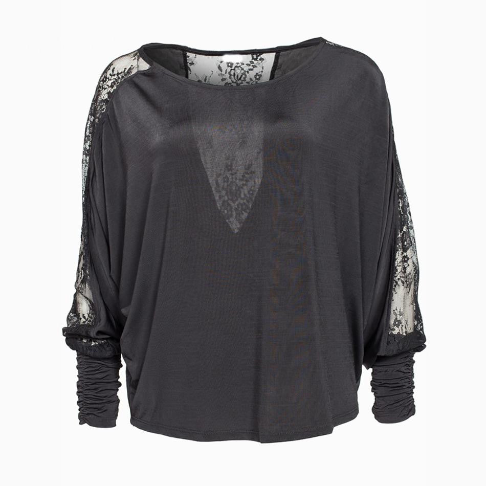 2016 Spring new fashion women sexy lace hollow out backless long batwing sleeve t shirt lace patchwork loose t-shirts ST2323 - youandbeautifulpeople