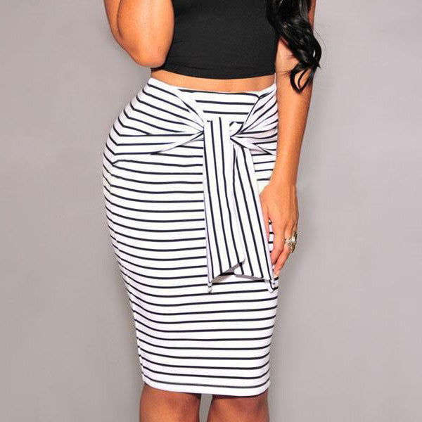 BEFORW Brand Skirts Womens Fashion High Waist Stripe Lacing Skirt Plus Size White And Black Sexy Bodycon Long Skirt For Women - youandbeautifulpeople