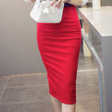 High Waist Pencil Skirt Plus Size Tight Bodycon Fashion Women Midi Skirt Red Black Slit Women's Skirt Fashion Jupe Femme S - 5XL - youandbeautifulpeople