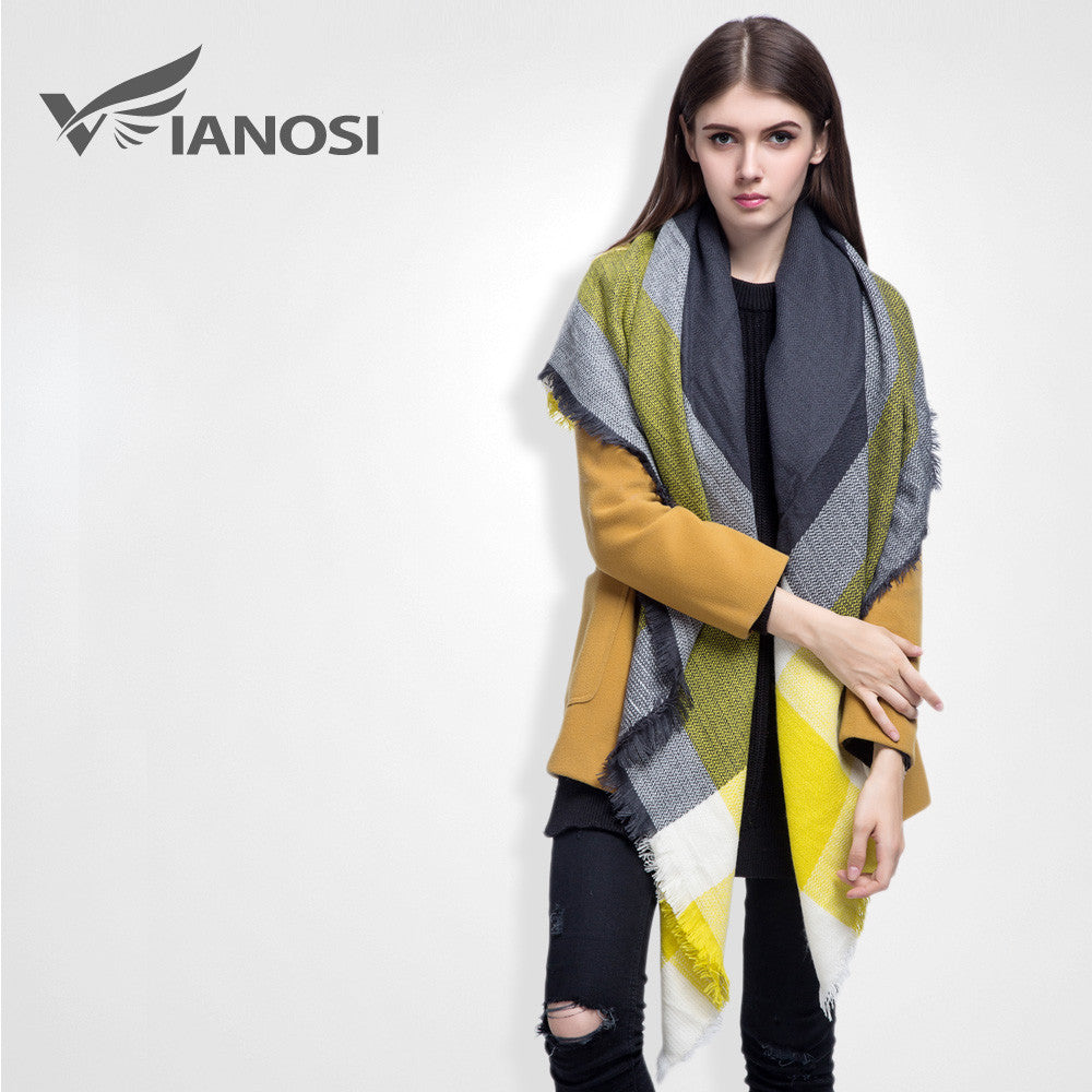 [VIANOSI] high quality plaid scarf women Thicken Soft Winter scarf Fashion Shawls and Scarves DS033