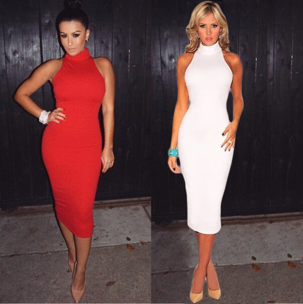 Bandage Dress 2016 New Women Sleeveless Bodycon Evening Night Club Women Dress red White Casual Pencil Dresses - youandbeautifulpeople