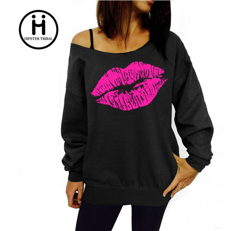 2016 New Autumn sexy women's Red Big Lips Print sweatshirt Long Sleeve Winter Blusas Sweatshirt Plus Size 2XL Hoodies Tracksuit