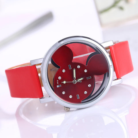 Reloj mujer 2017 Cat Face PU Leather Band Analog Casual Quartz Watch Women relogios femininos Big Dial Clock Wristwatch Clock