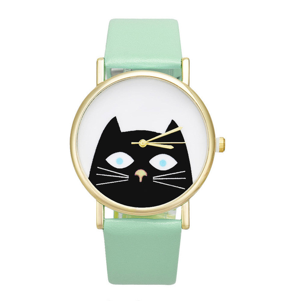 Reloj mujer 2017 Cat Face PU Leather Band Analog Casual Quartz Watch Women relogios femininos Big Dial Clock Wristwatch Clock - youandbeautifulpeople