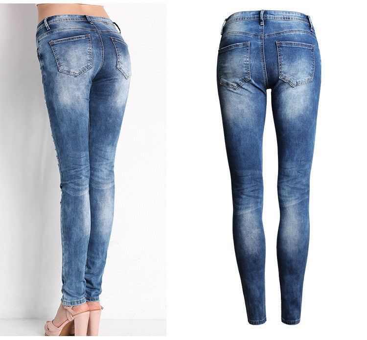 Cotton Denim Pants Stretch Pants - youandbeautifulpeople