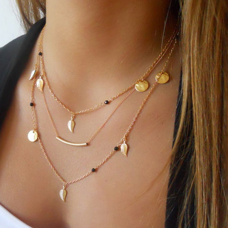 Gold silver chain beads  leaves pendant necklace - youandbeautifulpeople