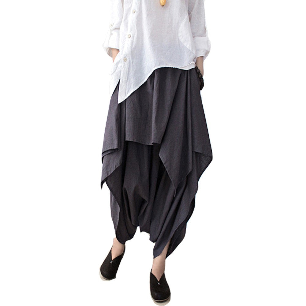 SERENELY 2016  Women Pants Cotton Linen Ruffled Harem